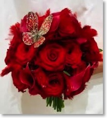 Red Rose Bouquet with Butterfly